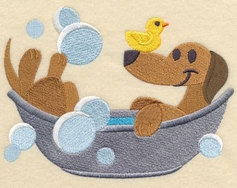 Dachshund in a Tub Embroidered Flour Sack Hand/Dish Towel