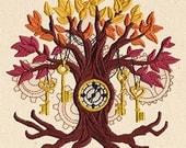 Autumn Steampunk Tree Embroidered Flour Sack Hand/Dish Towel