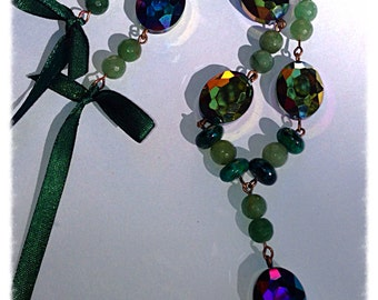 Metallic rainbow glass necklace. Multigem necklace. RESERVED for June