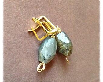 Gray // blue Labradorite earrings // gold tone