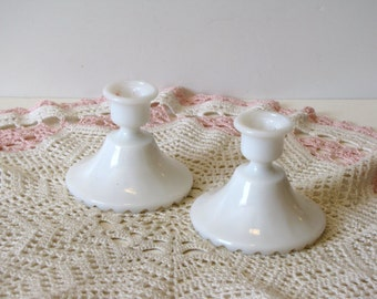 Vintage Milk Glass Candle Holders - Set of Two - Matching