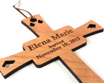 personalized cross WALL HANGING - a wooden keepsake baptism gift custom made  for boy or girl, homegrown organic finish