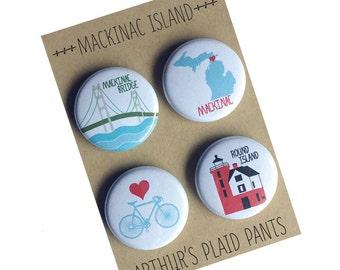Mackinac Island, Mackinac bridge, Mackinac, Mackinac magnet, Michigan, Mackinac badges, Mackinac magnet set