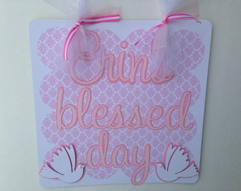 Baptism Christening party door sign Blessed Day