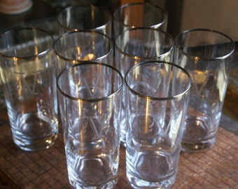 Tall Drinking Tumblers Monogramed with a V
