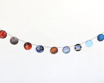 Solar System Banner, Hanging Planet Bunting, Outer Space Streamer, Sun Decoration, Earth Decor, Classroom Streamer, Geekery Party
