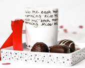 Kiss me each morning hand painted ceramic espresso cup and dish set. Mother's day gifts