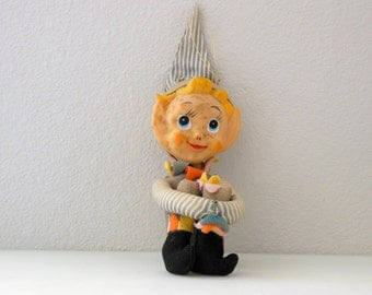 "12"" Elf Knee Hugger 1963 Holiday Fair Christmas Elf Pixie 12 INCH Hedaya & Co Ornament Shelf Sitter Christmas in July"