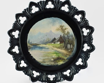 Vintage Hand Painted Landscape Executed on a Black Milk Glass Plate