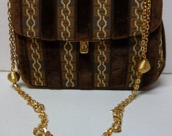 BIENEN DAVIS Cut Velvet Handbag Purse w/Metal Chain