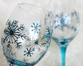 Wine Glasses, Wedding,  Anniversary glasses, Hand painted, Set of 2, Snowflake design - witchcorner