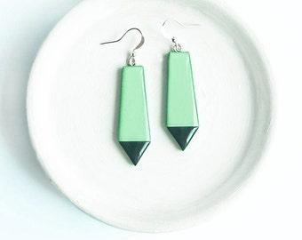 Long mint earrings, geometric jewelry, trendy earrings