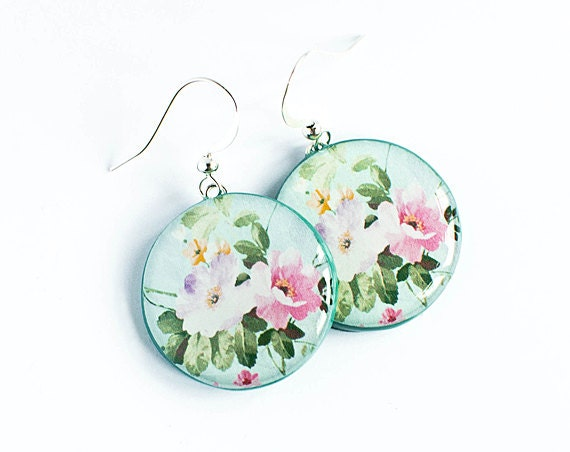 Peony flowers earrings, spring fashion, floral earrings