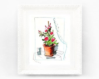 7x8 Vintage Madeline Print. Original French Book Plate Illustration. Flower Glass France Paris Ludwig Bemelmans mb1