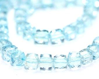 Sky Blue Topaz Faceted 3D Cube Set of 4 Sky Blue Semi Precious Gemstone December Birthstone