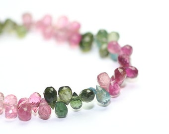 Tourmaline Micro Faceted Teardrop Briolettes 6 Small Pink Green Yellow Brown Semi Precious Gemstones