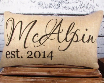 Burlap pillow cover personalized with name and established date - 12X20 -  lumbar - wedding gift - decor