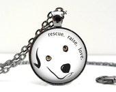 Rescue Raise Love Necklace : Glass Art Picture Pendant Photo Pendant (1168)