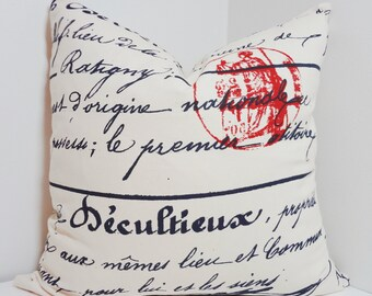 Navy French Script Pillow Penmanship Red Stamp Decorative Pillow Cover Throw Pillow All Sizes