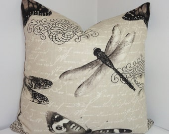 INVENTORY REDUCTION Butterfly Dragonfly Natural Print Decorative Pillow Throw Pillow Accent Pillow 18x18