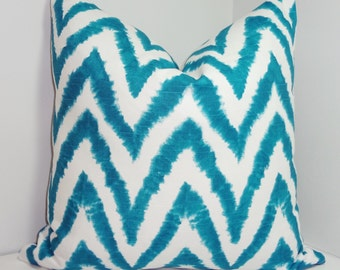 Decorative Teal Blue & White Chevron Pillow Cover Teal Blue Zig Zag Throw Pillow Cover 18x18