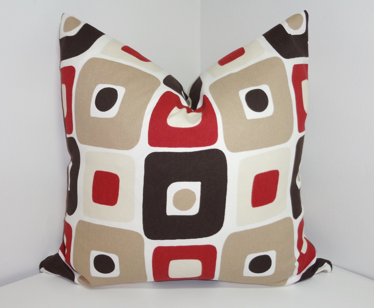 geometric pillow cover brown red tan geometric square. Black Bedroom Furniture Sets. Home Design Ideas