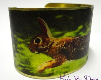 Rabbit Cuff Bracelet Brass Adjustable Bunny Hare