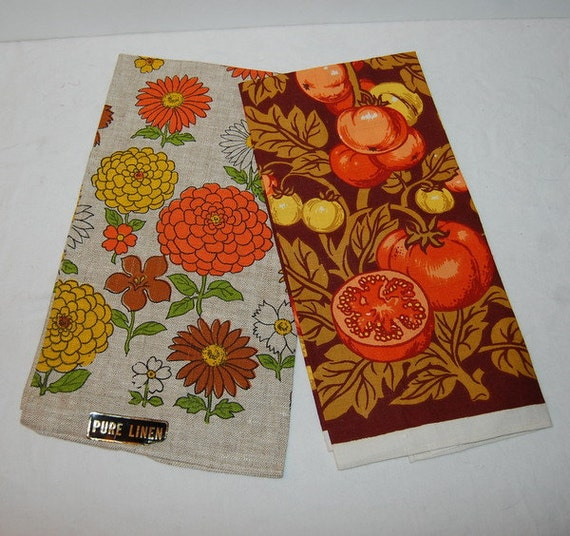 Retro Kitchen Linens: 2 Unused Linen Tea Vintage Kitchen Towels 1960s Fruit And