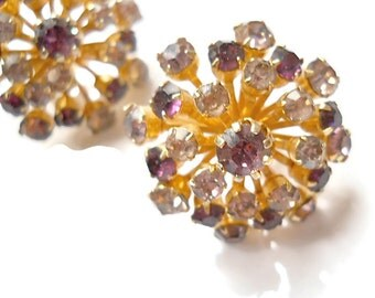 Vintage Rhinestone Earrings Coro Cluster Amethyst and Lilac 1950s