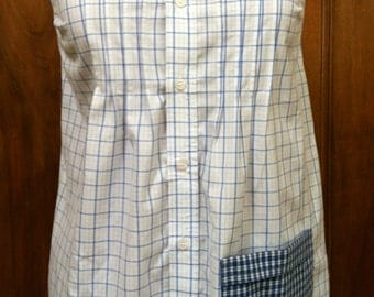 Blouse, Sleeveless, Tucked, Handmade from Recycled  Man's Dress Shirt, Blue Plaid on a White Background with Dark Blue Plaid Trim