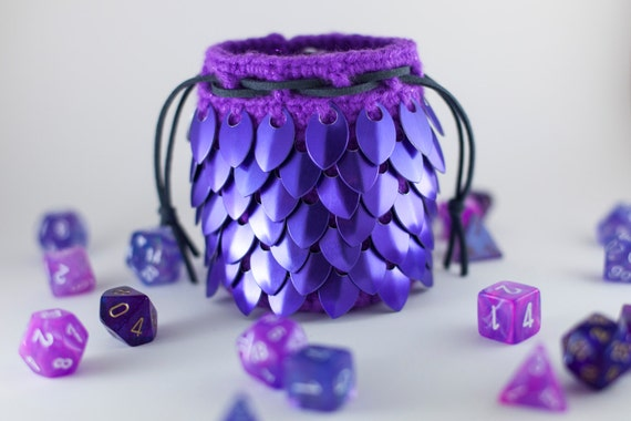 Crochet Scale Maille Dragon Egg Dice Bag / Dice Pouch