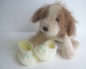 Crochet Baby Booties - Vanilla Off White with Mint Green Buttons - Preemie