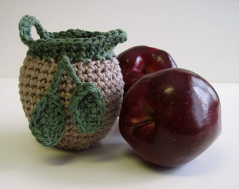 Crochet Apple Cozy Cozies for Fruit  - Tan with Sage Green Leaves