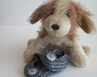 Crochet Baby Booties - Platinum Pewter Gray with Silver Glitter Buttons - Newborn to 3 Months