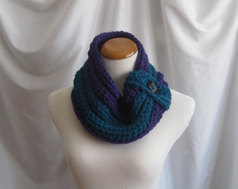 Cowl Wool Chunky Bulky Button Crochet Cowl:  Purple Grape and Dark Teal with Black Button - 100% Wool