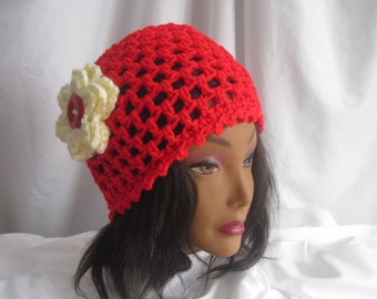 Hat Red Woman's Crochet Hat with Off White Button Flower Applique Stylish, Chic, Trendy and Lacy Cap Handmade Fashion Accessory