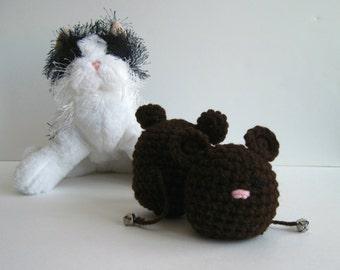 Crochet Cat Mouse Toy:  Premium Catnip (Set of 2) In Brown