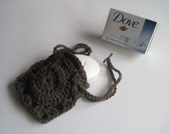 Crochet Soap Holder Bag - Cotton Drawstring Soap Saver - Brown