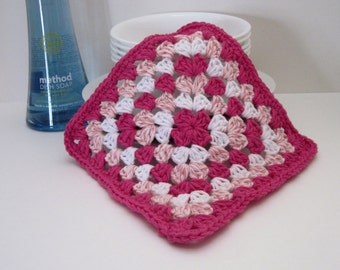 Crochet Dish Cloth Cotton Granny Square - Shades of Pink and White Dishcloth