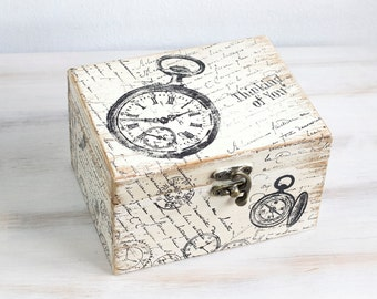 Beige Wooden Box Treasury Box Jewelry Box Distressed box Jewelry Storage Jewelry Holder Thinking of you Box Memory box Keepsake box