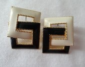 Earrings pierced linked black and white enameled squares