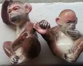 Vintage Ceramic Monkey Salt and Pepper Shakers