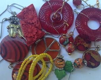 Handmade Earring Collection Destash - 10 Pairs - Reds, Oranges, Yellows