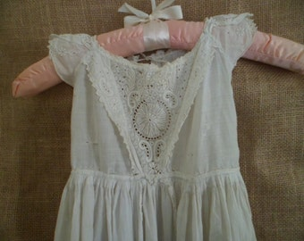 C. 1880 Quality French Victorian Christening Gown Whitework Detailing