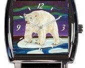 Polar Bear Wrist Watch - Vegan Watch - Comes in Tin -  From My Painting, Elusive Wonder