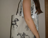 Tote Bag With Horse - Canvas Tote Bag - Natural Linen Bag - Handmade Linen bag with Horse pattern