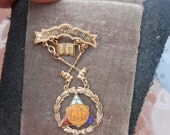 Vintage Order of the Eastern Star - Gold Toned Masonic Past Matron Enameled Medal