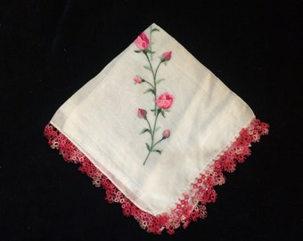 Vintage Fine Linen Handkerchief Hankie Pink Roses with Tatted Edging, Vintage Hankie, Crocheted Handkerchief, Lace Handkerchief