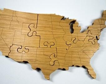 United States Puzzle Etsy - Us map puzzle wood