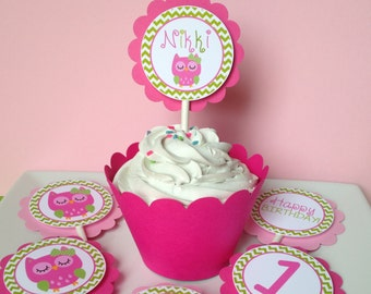 12 Owl Cupcake Toppers in Pink and Green